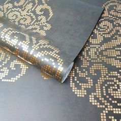 # Coffee Brown and # Metallic Gold Damask Feature # FD20748