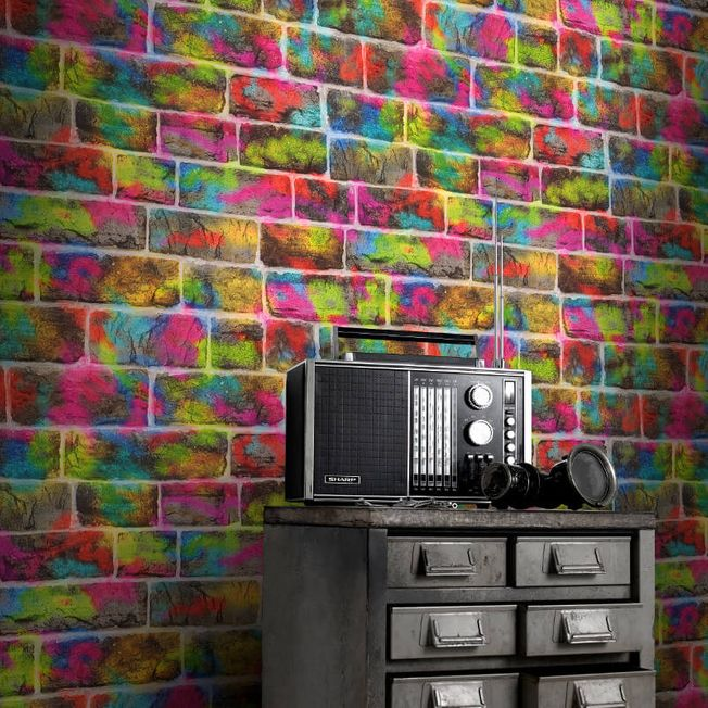 Rasch Graffiti Bricks Multicoloured Neon Colours Kids Wallpaper 291407