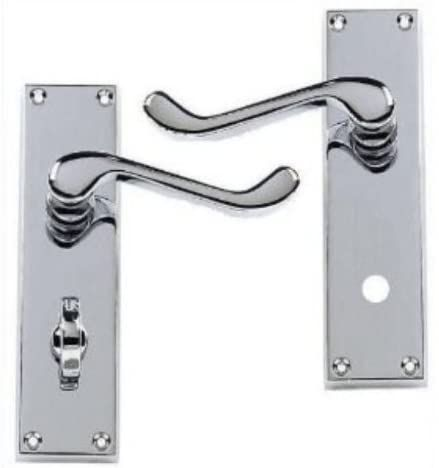 Victorian Scroll Polished Chrome Lever Bathroom WC Door Handles (58224