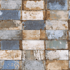 Blue & Gold Industrial Weathered Effect Metallic Tiles Wallpaper #Nf232023