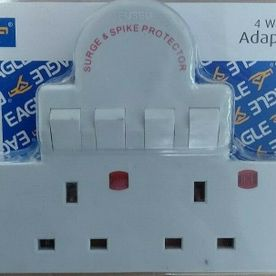 4 Way Extension Plug in Socket - Surge Spike Protected & Switched